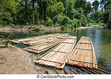 Bamboo rafts on green tropical river