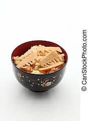 Bamboo shoots rice was taken in closeup
