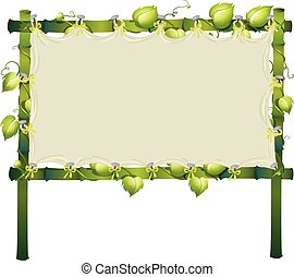 Bamboo sign with vine around frame
