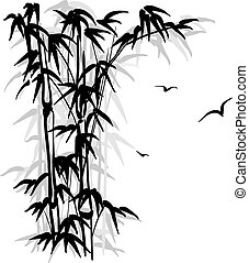 Bamboo silhouette - Black silhouette of a bamboo and birds...