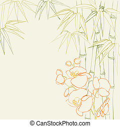 Bamboo stalks with orchid. Vector illustration.