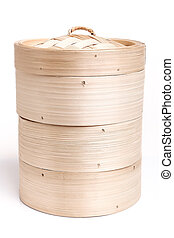 Bamboo steamed on white background.