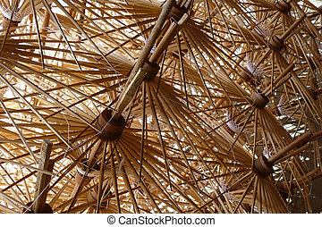 bamboo structure of thailand traditional paper umbrella
