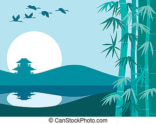Bamboo, sun and temple - Vector illustration of bamboo...