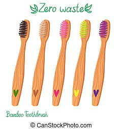 Bamboo toothbrushes set isolated color