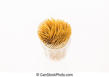 Bamboo toothpicks isolated on white