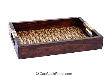 Bamboo tray isolated on white background