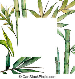 Bamboo tree frame in a watercolor style.