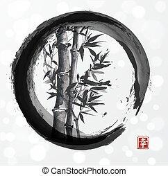 Bamboo tree in enso zen circle - Bamboo tree in enso circle...