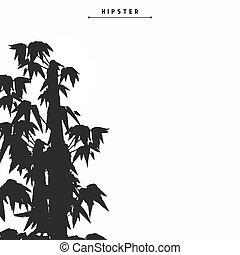 Bamboo tree silhouette card design, vector illustration
