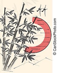 Bamboo trees and red sun.