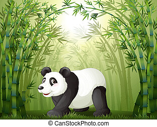 Illustration of the bamboo trees with a panda at the center