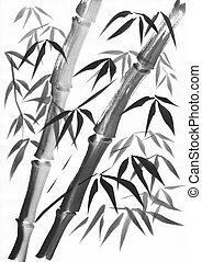 Bamboo two stalks painting