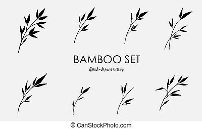 Bamboo vector elements set isolated on a light background. Black sign of bamboo in a flat style. Simple silhouettes bamboo forest, jungle or trees.