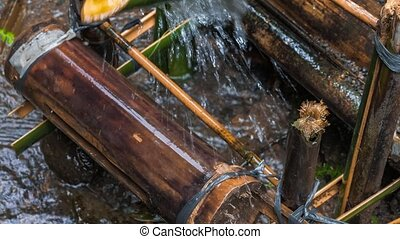 Bamboo water irrigation, brings water from stream to plantation. Close-up of bamboo delivering water. Bali. Asia