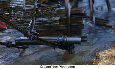 Bamboo water wheels - System of rice fields irrigation in...