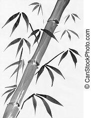 Bamboo watercolor painting study