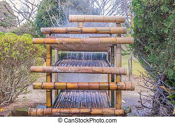 bamboo waterfall Beautiful decorative in the garden