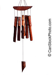 Bamboo wind chimes isolated on white background