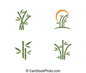Bamboo with green leaf logo vector