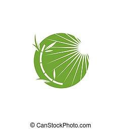Bamboo with sun  vector icon