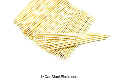 Bamboo wooden skewers  on white background
