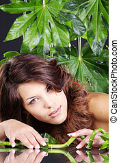 bambou, femme, jeune, joli