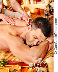 bambou, femme, massage., obtenir