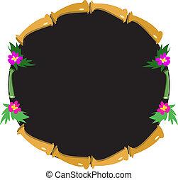 bambou, fleurs, bronzage, cadre