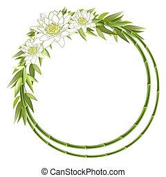 bambou, fleurs, rond, cadre