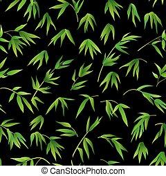 bambou, fond, feuilles, seamless