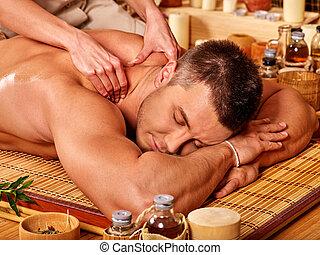 bambou, homme, massage., obtenir