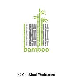 bambou, logo, stylisé, barcode, symbole