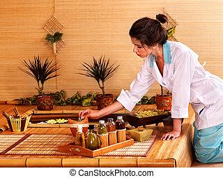 bambou, masage, à, spa.