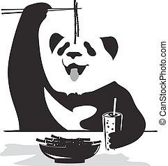 bambou, panda, manger