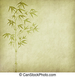 bambou, peinture, o, chinois, encre