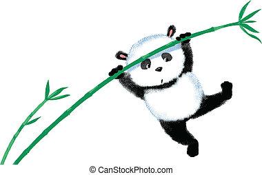 bambou, sauter, panda