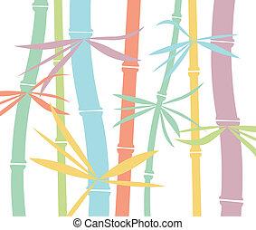 bambou, vecteur, coloré, fond