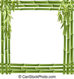 bambou, vecteur, frame., fond