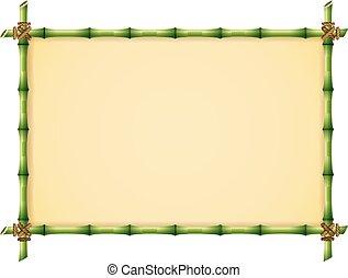 bambou, vert, cadre