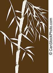 bambu, desenho, chinês, árvores