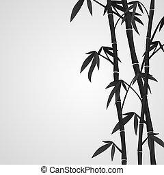 bambu, fundo, hastes