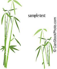 bambu, fundo, oriente, árvores