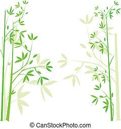 bambu, fundo, verde, ilustração