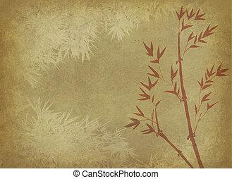 bambu, quadro, este prego, chinês, tinta