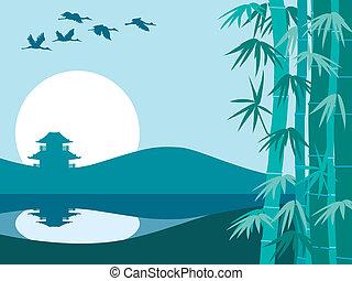bambu, sol, e, templo