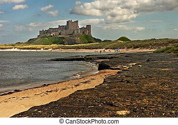 Bamburgh Castle - Bamburgh castle, on the coast of...