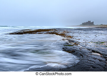Bamburgh castle in northumbria , Long exposure.