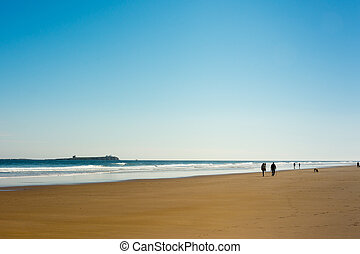Bamburgh England shoreline walk with Farne Islands...