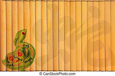 bambus, design, schlange, chinesisches , jahr